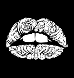 Surreal lips made in hand drawn style tattoo art vector