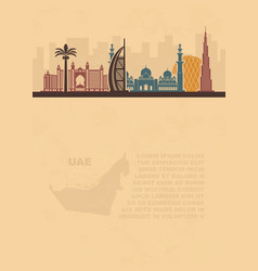 Template leaflets with a map of the uae and dubai vector