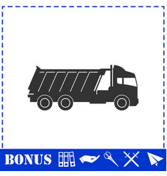 Tipper truck icon flat vector