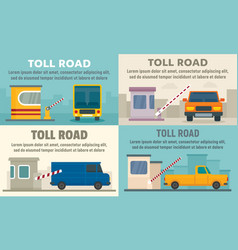 Toll road station banner set flat style vector
