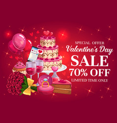 Valentines day sale or discount offer with hearts vector