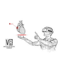 vr wireframe headset man with heart banner vector image