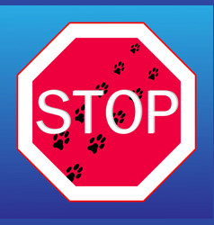webstop sign on with dog tracks vector image
