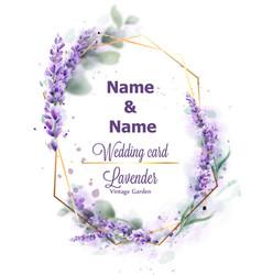 wedding card lavender wreath watercolor delicate vector image