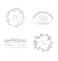 wedding floral monogram modern collection vector image