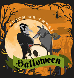 werewolf holding skull with the vampire halloween vector image