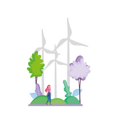 woman wind turbines outdoor trees ecology vector image