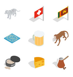 Worldwide tour icons set isometric style vector
