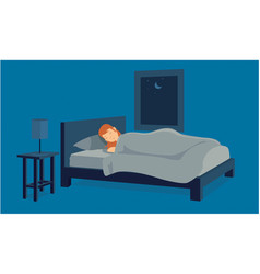 young female tired sleeping in the bed of his vector image