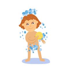 cartoon girl kid washing isolated vector image