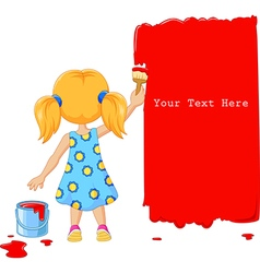 Cute little girl painting the wall with red color vector image vector image
