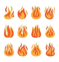 Fire flame silhouette set vector image vector image