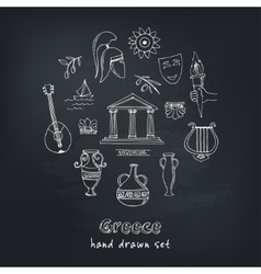 Hand drawn greece travel collection of icons vector image vector image