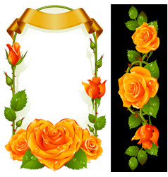 set of floral decoration yellow roses green vector image vector image