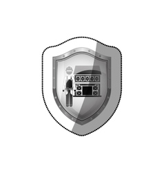 sticker shield with builder with helmet and house vector image