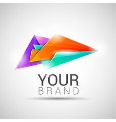 Creative colorful abstract triangles logo design vector image vector image