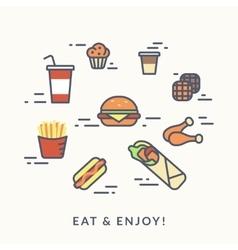 Set of junk food contour icons burger with hotdog vector image
