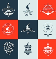 Set of yacht club logo collection vector image