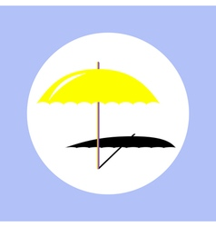 umbrella beach in circle vector image vector image