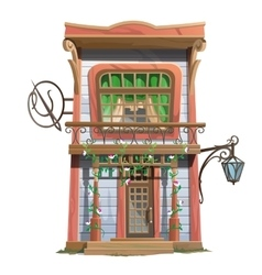 Vintage sewing house in american style vector