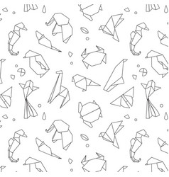 animals origami pattern lines vector image