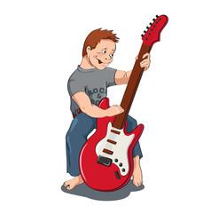 Boy with gitar vector image