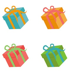 Flat gift box set vector image