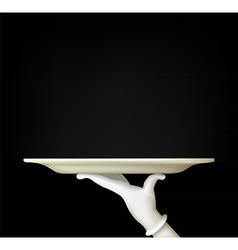 hand with a tray on a black background vector image