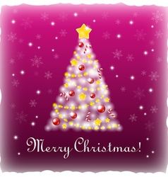White Xmas tree on a pink background vector image vector image