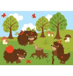 Cartoon Hedgehogs vector image vector image