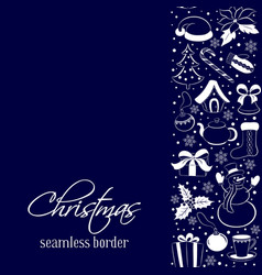 christmas seamless vertical border silhouettes of vector image