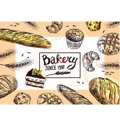 hand drawn bakery vector image vector image