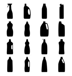 Set of bottle silhouettes of cleaning products vector