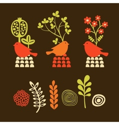 Set of cartoon elements birds with flowers vector image vector image