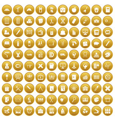 100 pensil icons set gold vector
