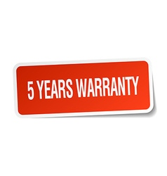 5 years warranty red square sticker isolated on vector