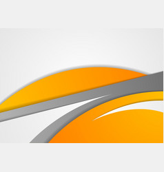 Abstract corporate orange grey wavy background vector