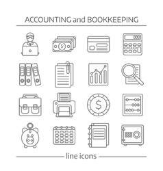 Accaunting bookkeeping flat line icons set vector