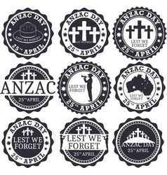Anzac day Greeting stamp set vector image