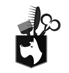 barber shop for dogs symbol for business vector image
