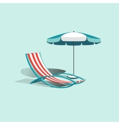 Beach umbrella with deck chair vector