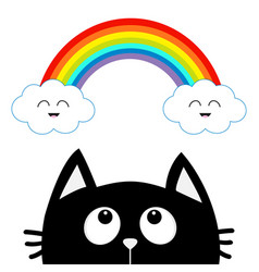 Black cat looking up to cloud and rainbow with vector