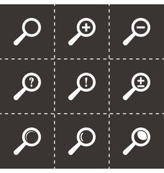 black magnifier glass icons set vector image