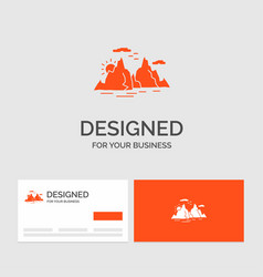 Business logo template for mountain hill vector