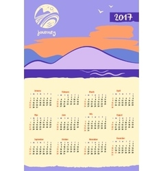 Calendar 2017 with logo travel company vector image