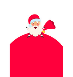 cheerful santa claus with sack copy space for vector image