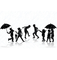 Children enjoy the rain vector image