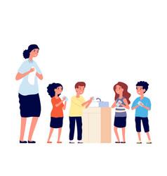 children washing hands school kids clean dirty vector image