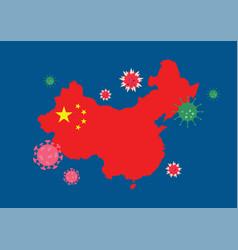 China map country with coronavirus vector
