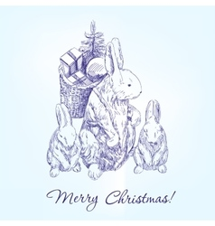 Christmas greetings family rabbits hand drawn vector